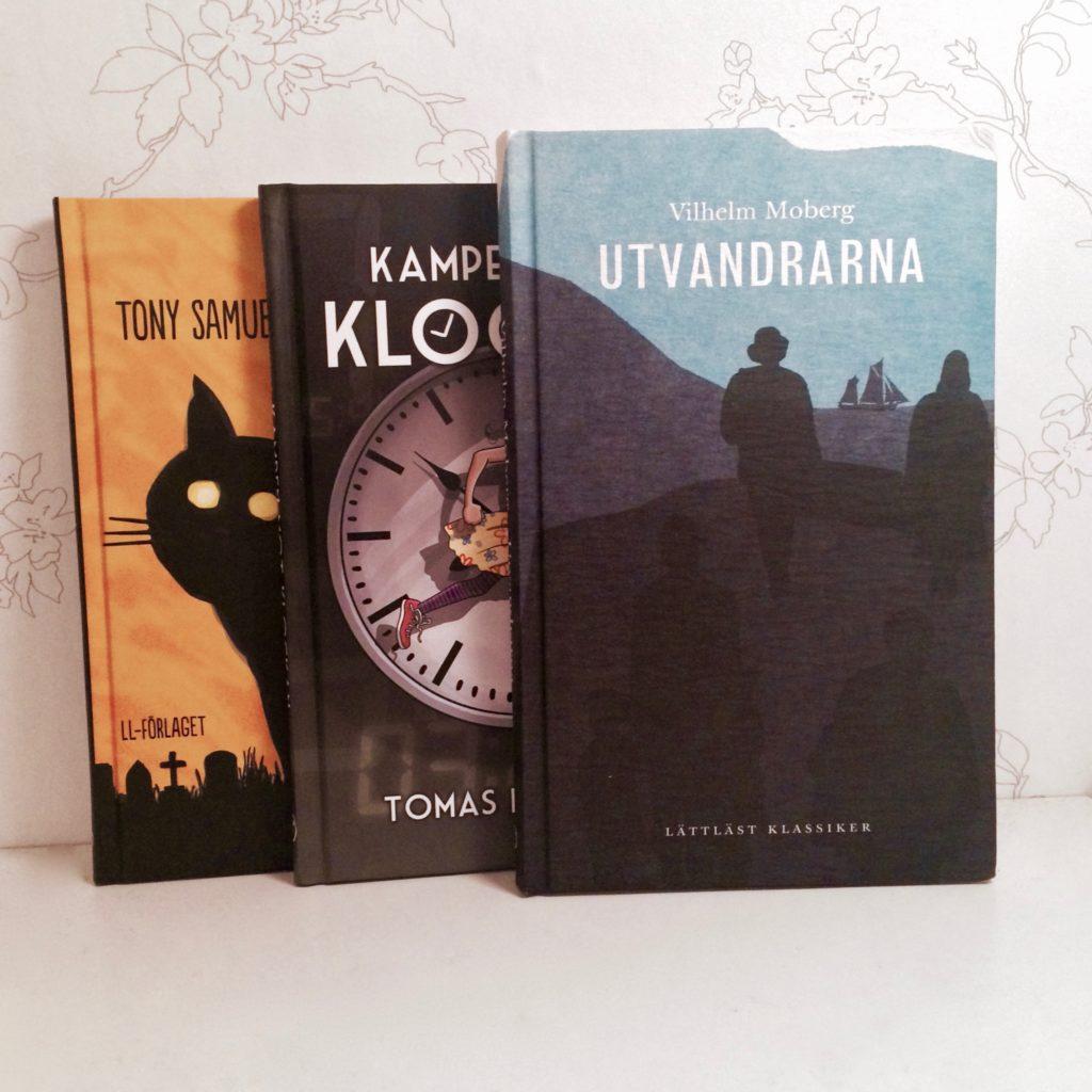 Bild på tre lättlästa böcker.